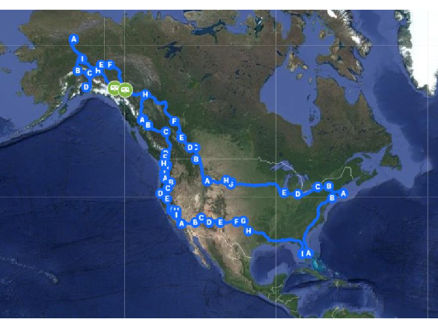 Road map plotted in Google Maps. Over 15,000 miles driven in the summer of 2017